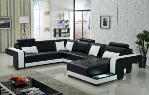 European Design Big Size with LED U Shape Leather Sofa pictures & photos