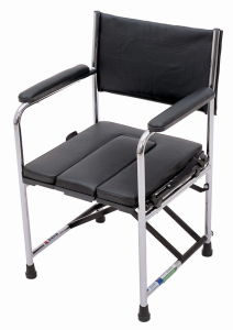 Chrome Frame PVC Seat and Back Commode Chair