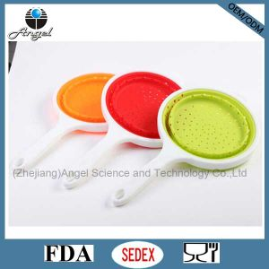 Hot Sale Foldable Silicone Strainer with PP Handle Silicone Colander Basket Sk09 pictures & photos