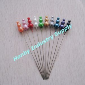 Colorful 93mm Pearlized Plastic Triple Head Metal Steel Pins for Festive Decoration (P160801B) pictures & photos