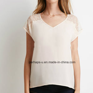 Lace V-Neck Hot Sell Ladies Chiffon T-Shirt pictures & photos