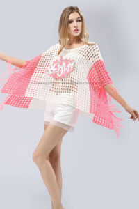 Pink Patterned Fringe Hem Oversized Poncho Sweater pictures & photos