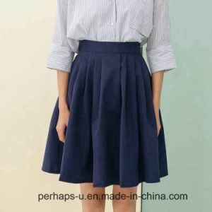 High Waist Pleated Pure Color Cotton Skirts pictures & photos
