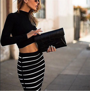 Women′s Maxi Long Sleeve Two Piece Pencil Skirt Stripe Dress pictures & photos