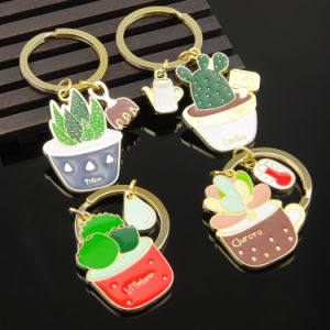 New Design Metal Plant Key Chain with Cactus Shape pictures & photos