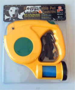 Pet Retractable Dog Leash LED Flashlight Waste Bags Dispenser pictures & photos