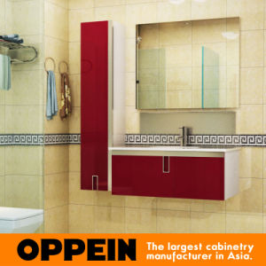 Oppein Modern Red Lacquered Wooden Bathroom Cabinet (OP15-202B) pictures & photos