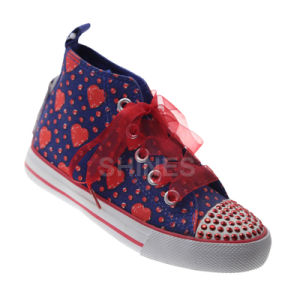Canvas Vulcanized Shoes with Rhineston for Girls pictures & photos