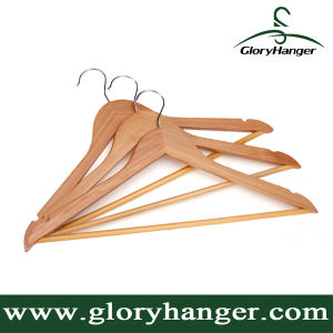A Grade Wholesale Top Wooden Clothes Hanger for Man Garment Furniture Hanger with Bar (GLWH003) pictures & photos