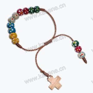 Plum Blossom Wood Bead Cord Knotter Religious Bracelet