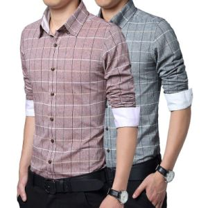 New Fashion Men′s Stylish Plaids Casual Slim Fit Dress Shirt pictures & photos