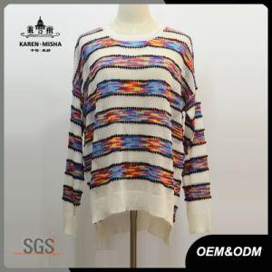 Women Oversized Side Slit Hi-Lo Hem Striped Sweater pictures & photos
