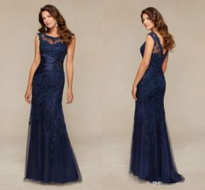 Navy Blue Lace Party Dress Prom Gown Long Evening Dresses B20158 pictures & photos