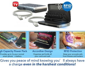 Portable Battery Wallet/Atomic Charge Wallet/Power Bank Wallet