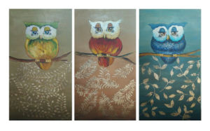 Handmade Canvas Three Owl Oil Painting pictures & photos