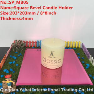 4mm Pink Bevel Glass Mirror Candle Holder pictures & photos