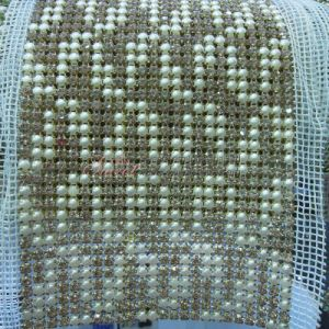 24 Rows Crystal Rhinetone Trim Mesh with Pearl pictures & photos
