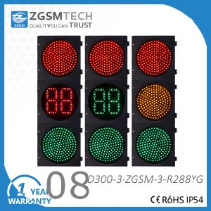 LED Traffic Light Red Green and 2 Digital Countdown Yellow 300mm 12 Inch