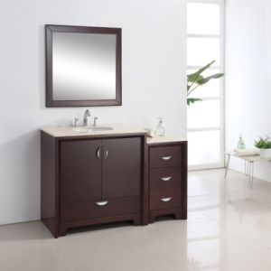Single Sink Wooden Bathroom Vanity with Side Cabinet