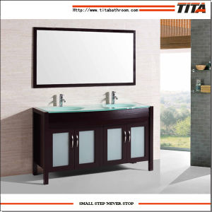 2016 Double Sink Solid Wood Floorstanding Bathroom Vanity T9132 pictures & photos