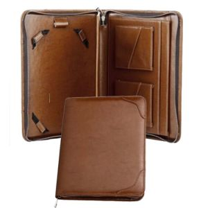 Custom Genuine Leather Tablet Portfolio with Pad Holder pictures & photos