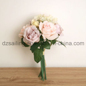 Widely-Used Artificial Flower of Rose and Hydrangea Bouqet for Decoration (SF12510)