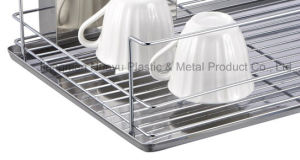 Chrome 2 Tiers Dish Rack with Stainless Steel Drainer Board and Cup pictures & photos