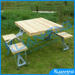 Smooth Top Wooden Surface Folding Table and Bench pictures & photos