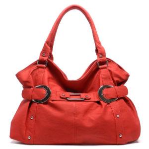 Women Fashion Leisure Leather Shoulder Handbag in Red Color