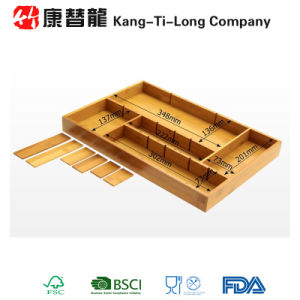 Bamboo Drawer Divider Organizer Storage Box