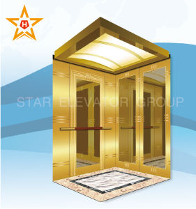 Passenger Lift with Titanium Etching Stainless Steel