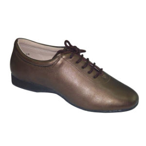 Bronze Leather Women′s/Ladies Practice Shoes for Latin/Salsa/Cha-Cha/Tango Dance pictures & photos