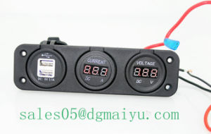 Automobile Motorcycle DC 1-10A LED Digital Ampere Current Meter and DC Voltmeter with USB Sockets pictures & photos