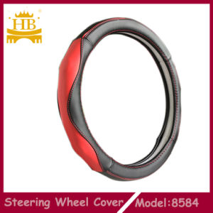 PU Material Car Steering Wheel Cover, Black with Red Color
