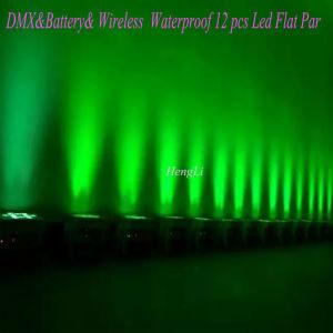 DMX&Battery& Wireless Waterproof Kibetic Lighting 12 *10W RGBW 4in1 LED Flat PAR pictures & photos