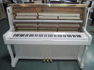 [Chloris] Hu-123W White Glossy Upright Piano with Slowly Soft Close