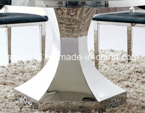 Glass Table Stainless Steel Frame Home Furniture Round Table pictures & photos