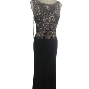Ladies Delicated Eveningh Party Dress with Sequins Hand Sewn (ND16004)