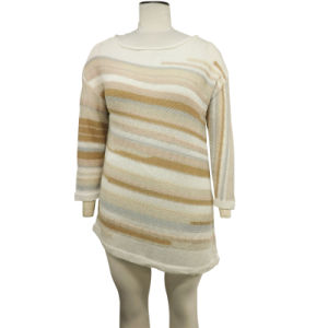 Ladies Stylish Knitting Intarsia Stripe Pullover Fashion