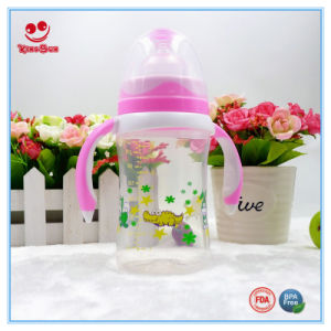 Double Colors Wide Neck Plastic Baby Feeding Bottle with Straw pictures & photos