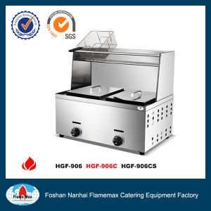 2-Tank 2-Basket Gas Fryer with Top Shelf&Under Shelf (HGF-906CS) pictures & photos