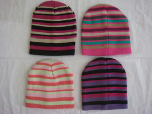 Knitted Winter Acrylic Striped Beanie pictures & photos