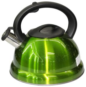 Green Whistling Water Kettle with Double Bottom and Plastic Handle pictures & photos