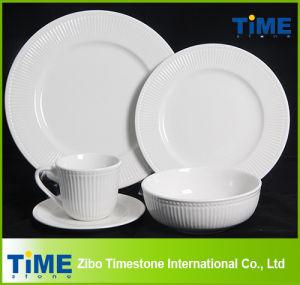 Fine White Porcelain White Embossed Royal Dinner Set (1010-10) pictures & photos