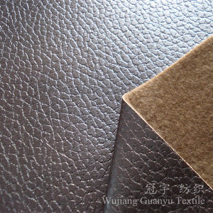 Foil Gold Suede Cloth Microfiber Fabric with Knitted Backing pictures & photos
