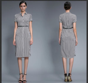 Wholesale Stripe Fashion Ladies Short Sleeve Casual Clothing pictures & photos