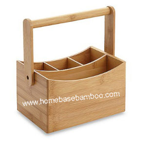 Bamboo Cutlery Flatware Utensil Caddy Holder Box Storage Organizer - Hb609 pictures & photos