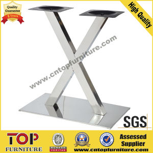 Rectangular X Stainless Steel Leg Restaurant Table pictures & photos