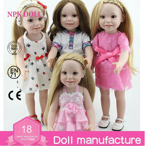 18 Inch Full Vinyl Girl Doll Like American Girl Doll Custom Dolls Long Hair Doll