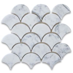 Carrara White Grand Fish Scale Fan Shaped Mosaic Tile Polished pictures & photos